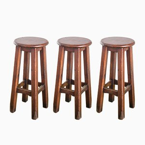 Vintage Industrial Pine Stools, 1960s, Set of 3