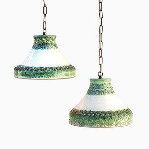 Lampes à Suspension Vintage en Céramique, 1970s, Set de 2