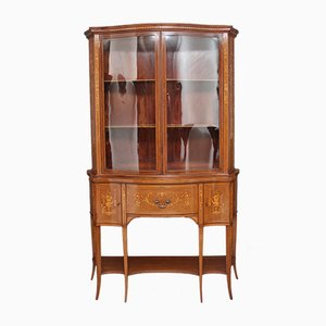 Antique Mahogany Inlaid Display Cabinet, 1890s