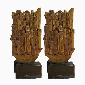 Getöpferte skulpturale Steingutvasen von Sylvia Morris, 1970er, 2er Set