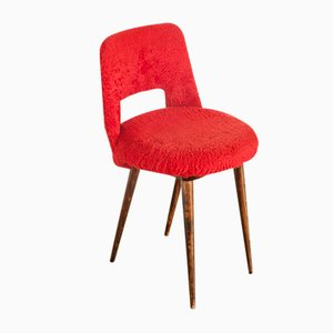 French Wood & Fabric Auxiliary Chair, 1960s