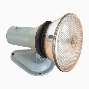 Industrielle spanische Vintage Wandlampe aus grau lackiertem Metall