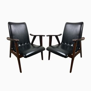 Dutch Teak Armchairs, 1950s, Set of 2