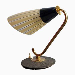 Lámpara de mesa de latón con pantalla de vidrio, años 50