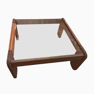 Tavolino da caffè quadrato in teak e vetro, anni '60