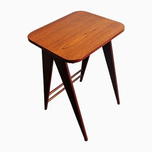 Teak Side Table with Scissor Legs, 1960s
