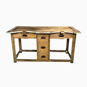 Tavolo da lavoro vintage in abete e castagno