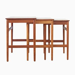 Vintage AT-40 Nesting Tables by Hans J. Wegner for Andreas Tuck