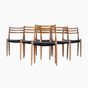 Modell Nr. 78 Esszimmerstühle von Niels O. Møller für J.L. Møller, 1960er, 6er Set