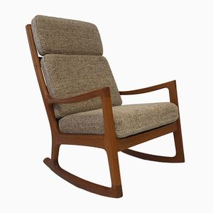 Danish Senator Highback Rocking Chair by Ole Wanscher for Peter Jeppesen, 1960s