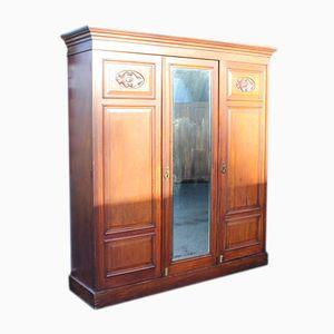 3-Door Walnut Mirrored Compactum Wardrobe, 1920s