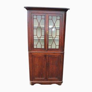 Mueble esquinero antiguo de roble, década de 1850