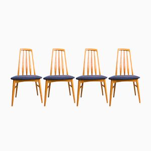 Oak Eva Chairs by Niels Koefoed for Koefoeds Hornslet, 1970s, Set of 4