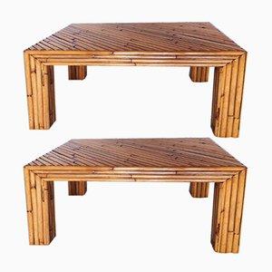 Tavolini in bambù di Ferdinando Loffredo, anni '70, set di 2