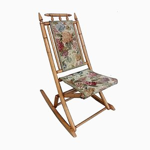 Rocking Chair Pliant Vintage en Imitation Bambou, 1930s