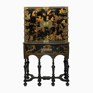 Antique William & Mary Style Black Gilt Cabinet, 1690s