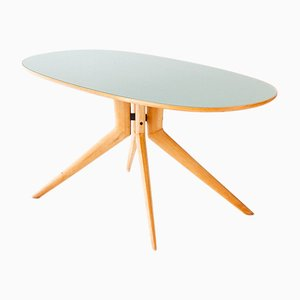 Italian Elliptical Beech and Light Green Glass Table, 1950s
