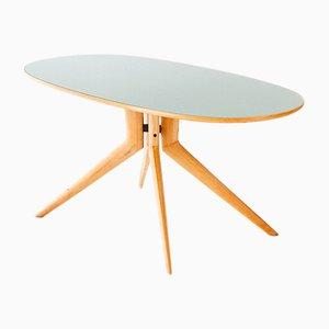 Table en Verre Vert Clair et en Hêtre, Italie, 1950s