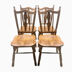 Wooden Chairs, 1920s, Set of 4