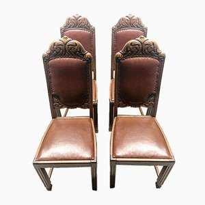 Antique Leather Chairs, 1918, Set of 4