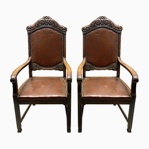 Leather Armchairs, 1919, Set of 2