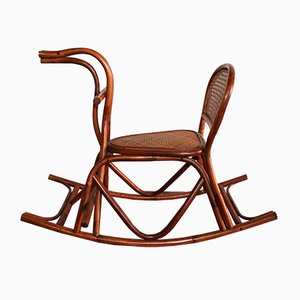 Rocking Chair pour Enfant en Bois Courbé et Rotin, 1930s