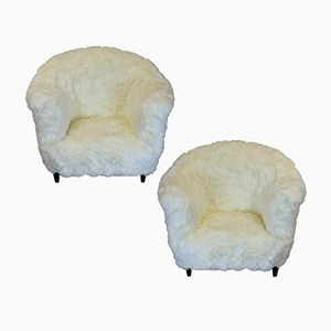 Large Danish Fur Armchairs, 1960s, Set of 2