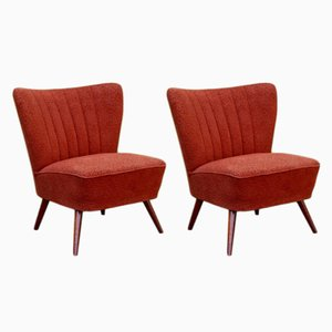 Vintage Red Cocktail Armchairs, 1950s, Set of 2