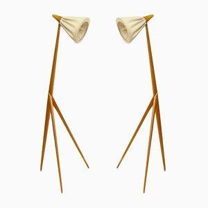 Lámparas de pie Giraffe de Uno Kristiansson para Luxus, años 50. Juego de 2