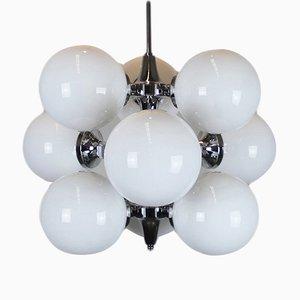 Lámpara de araña italiana con nueve globos, años 60