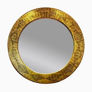 Espejo grande redondo bañado en oro de 23 kilates de Isabel Tennant, años 90