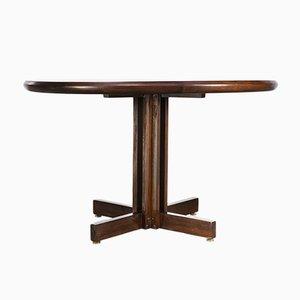 Mesa de comedor redonda de palisandro, años 80