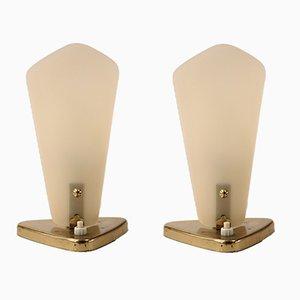 Lámparas de mesa vintage de latón y vidrio sintético. Juego de 2