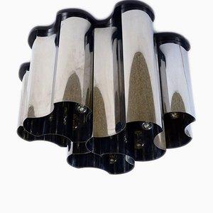 Lámpara de araña italiana de acero cromado, años 70