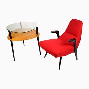 Fauteuil et Table d'Appoint par Lucyna Kowalska et Roman Lisowski, 1958