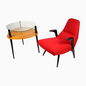 Lounge Chair and Side Table by Lucyna Kowalska and Roman Lisowski, 1958
