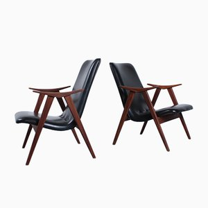 Lounge Chairs in Teak & Black Skai by Louis Van Teeffelen for WéBé, 1950s, Set of 2