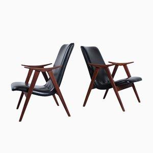 Sessel aus Teak und schwarzem Skai von Louis Van Teeffelen für WéBé, 1950er, 2er Set