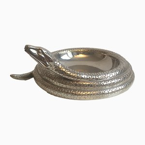 Cenicero vintage en forma de serpiente de acero, años 70