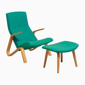 Grasshopper Liegestuhl & Fußhocker von Eero Saarinen für Knoll International, 1950er