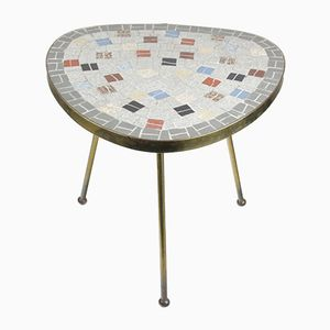 Mid-Century Mosaic Kidney Table with Brass Legs, 1950s