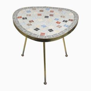 Tavolo Mid-Century con mosaico e gambe in ottone, anni '50