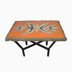 Enameled Lava Stone Side Table by Jean Jaffeux, 1960s