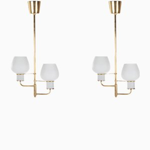 Brass and Opal Glass Ceiling Lamps by Bent Karlby for Lyfa, 1950s, Set of 2