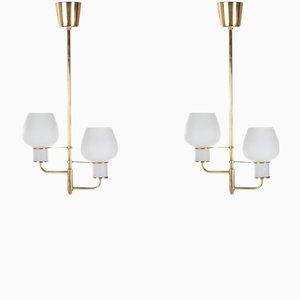 Lampade da soffitto in ottone e vetro opalino di Bent Karlby per Lyfa, anni '50, set di 2