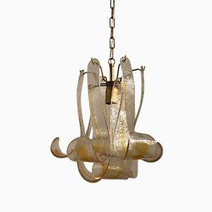 Lámpara colgante italiana Mid-Century con hojas de cristal de Murano de Mazzega