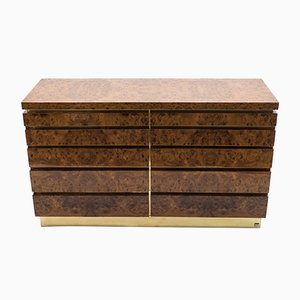 Large Elm & Brass Chest by Jean Claude Mahey for Maison Roméo, 1970s
