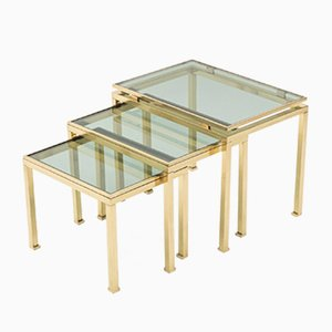 Brass Nesting Tables by Guy Lefevre for Maison Jansen, 1970s