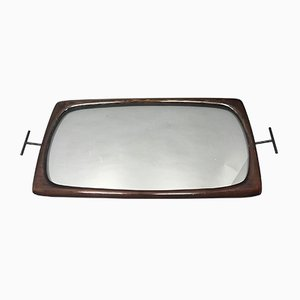 Mid-Century Italian Tray in Varnished Wood by Cesare Lacca
