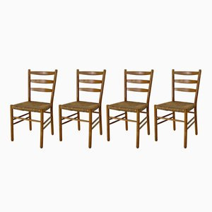 Rush Seated Dining Chairs by Hein Salamonson, 1949, Set of 4